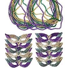 Mardi Gras Face Mask & Beads - Mardi Gras Mask Bulk - Mardi Gras Necklaces - Mardi Gras Costumes by Funny Party Hats
