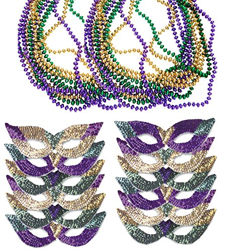 Funny Party Hats Mardi Gras Face Mask & Beads - Mardi Gras Mask Bulk - Mardi Gras Necklaces - Mardi Gras Costumes ()
