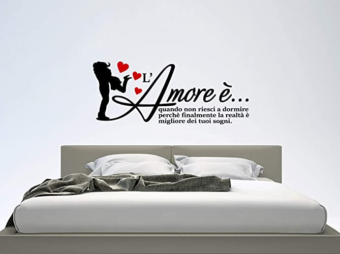 ADESIVI MURALI LOVE WALL STICKERS LOVE STICKER FRASE AMORE ...