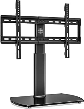 FITUEYES - Soporte universal para TV de pantalla plana de 32 a 65 pulgadas, giratorio de 80 grados, altura de 3 niveles ajustable, base de vidrio templado, soporta hasta 110 libras: Amazon.es: Electrónica