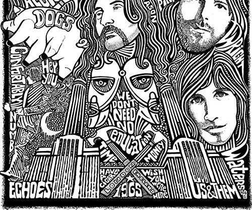 Pink Floyd Poster Inspired Letterpress Art Print Poster