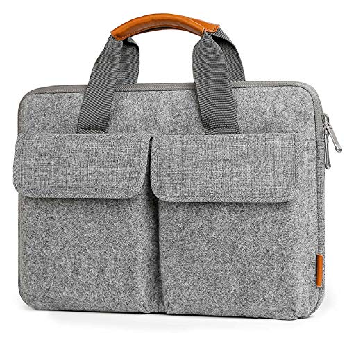 Inateck 14-14.1 inch Laptop Sleeve Briefcase, Felt Laptop Bag Case Compatible 15'' MacBook Pro 2018/2017/2016, 14.1 inch Laptop Ultrabook Netbook Commute Business School Bag - Light Gray by Inateck