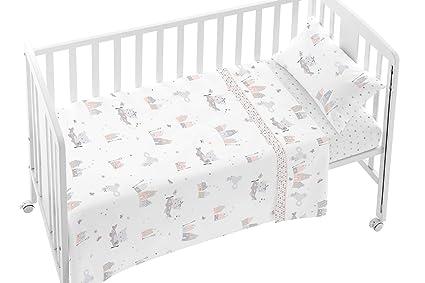 79f5183cc0 Burrito Blanco Set di Lenzuola per Bambini 007 con Stamping House con  Animali Divertenti per Culla