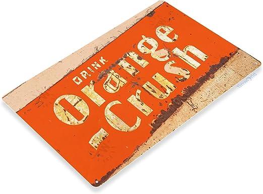 Signo de estaño B370 ORANGE CRUSH SODA Retro Decoración Rústica bebida signo Soda