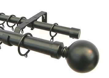 Rail double Tringle à rideau en métal de 4 m Noir 28 mm et 19 mm ...