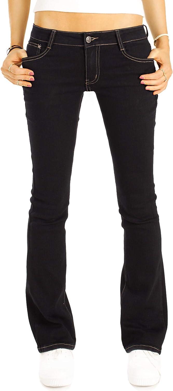 bestyledberlin Damen Bootcut Jeans, Low Rise Hüftjeanshosen j67k