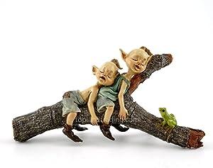 Miniature Fairy Garden Twin Garden Pixies Napping on Tree Log