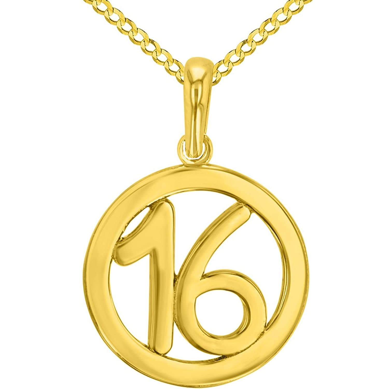 ソリッド14 Kイエローゴールドラウンド数16個チャームペンダントwithキューバチェーンネックレス B07DD6J796