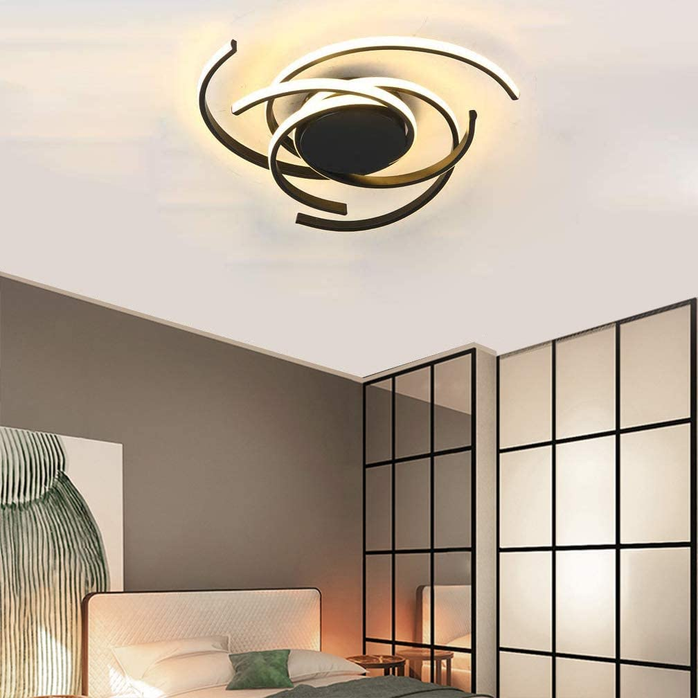 Amazon Com Phlilqe Led Ceiling Light Dimmable Chandelier Living Room Kitchen With Remote Control Hanging Lamp Modern Dining Room Flush Mount Acrylic Chic Ceiling Chandeliers Lighting For Bedroom Black 22 Home Improvement