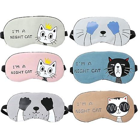Cuitan 6 pcs Máscara del Sueño, Cartoon máscara de ojo cómoda y súper suave máscara