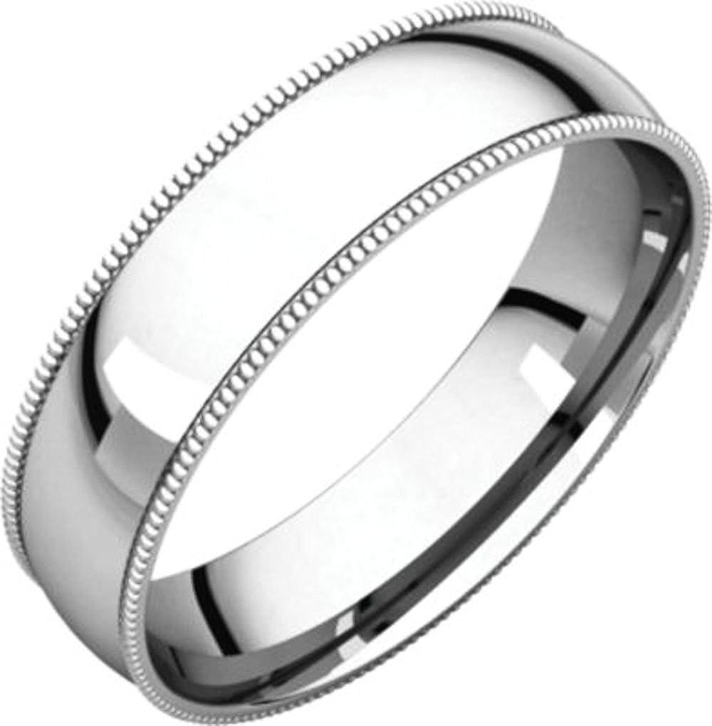 Size 5 Bonyak Jewelry 10k White Gold 4 mm Milgrain Lightweight Comfort-Fit Band