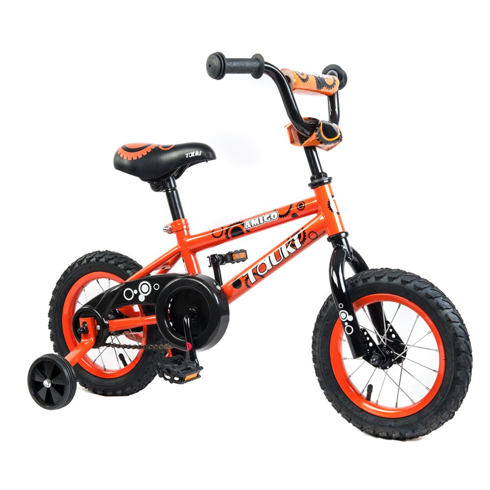 Tauki Kid Bike BMX Bike for Boys and Girls, 12 Inch, Orange, 95% assembled, for 2-5 Years Old, Gift for kids