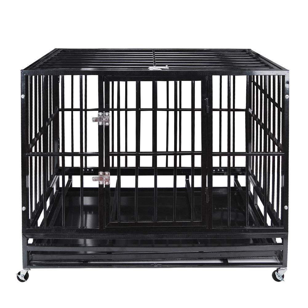 48'' Heavy Duty Pet Dog Cage Strong Metal Crate Kennel Playpen w/Wheels&Tray by Polar Aurora