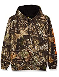 Carhartt Men's Midweight Camo Sleeve Logo Hooded Sweatshirt (Regular and Big & Tall Sizes), Mossy Oak Break, X-Large