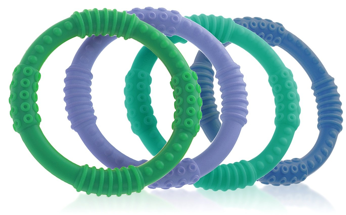 Teether Rings - (4 Pack) Silicone Sensory Teething Rings - Fun, Colorful and BPA-Free Teething Toys - Soothing Pain Relief and Drool Proof Teether Ring (Blues/Greens) by Bonbino