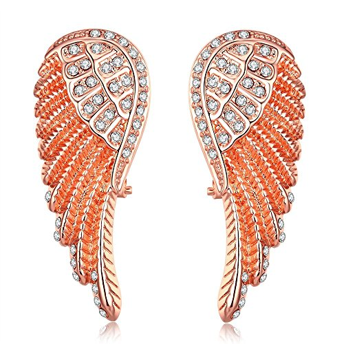 iCAREu Rose Gold Plated Diamonds Angel Wings Stud Earrings for Women, Girls