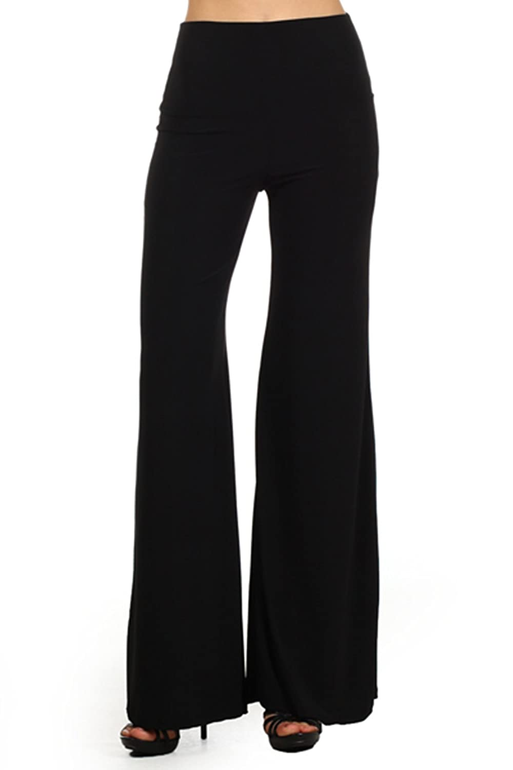 409 Tribal print, knit palazzo pants with a high fold-over waist and a wide leg Small, Black