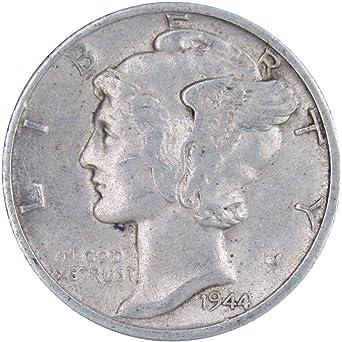 Brilliant Uncirculated US 90/% Silver Coins Lot Of 5 BU 1944-S Mercury Dimes