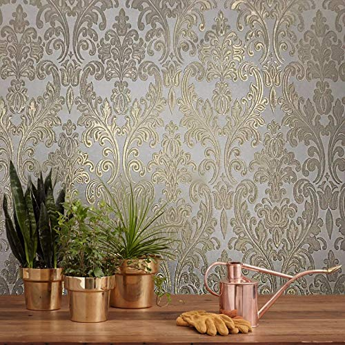 - paste the wall only Embossed modern European Slavyanski wallcoverings rolls washable victorian damask pattern Vinyl Non-Woven Wallpaper ivory gold metallic glitters textured textures 3D vintage style