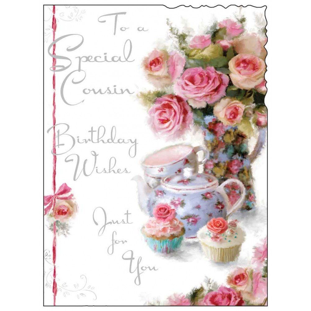 Female cousin happy birthday greeting card second nature just to say jonny javelin cousin birthday card flowers cupcakes 725 x 55 m4hsunfo