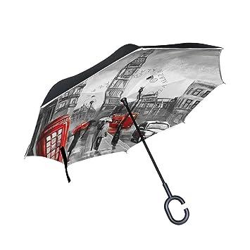 ALAZA Doble Capa invertido Paraguas Coches inversa Paraguas Big Ben de Londres Pintura al Óleo Prueba