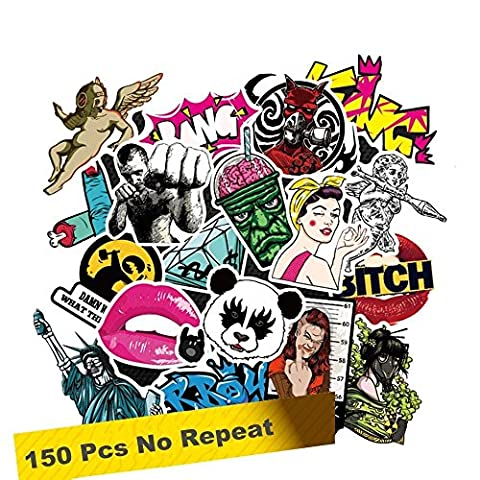 SuperSWK 150 Pieces Car Stickers Random Decals Patterns Bumper Cool Vinyl for Laptop,Bedroom,Travel Case,Luggage,Bike,Bicycle,Motorcycle,Skateboard,Snowboard,PS4,XBOX ONE. (Pack of (Decal Stickers Guitar)