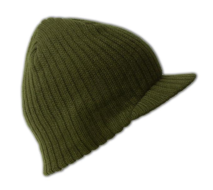 66cb01a10adad Amazon.com  OLIVE GREEN SOLID CAMPUS JEEP CAP VISOR BEANIE SKI CAP ...