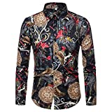 Classic Men's Dress Shirts Long Sleeves Floral Print Button Down Patchwork Plain Slim Fit Color Tops (S, Khaki)
