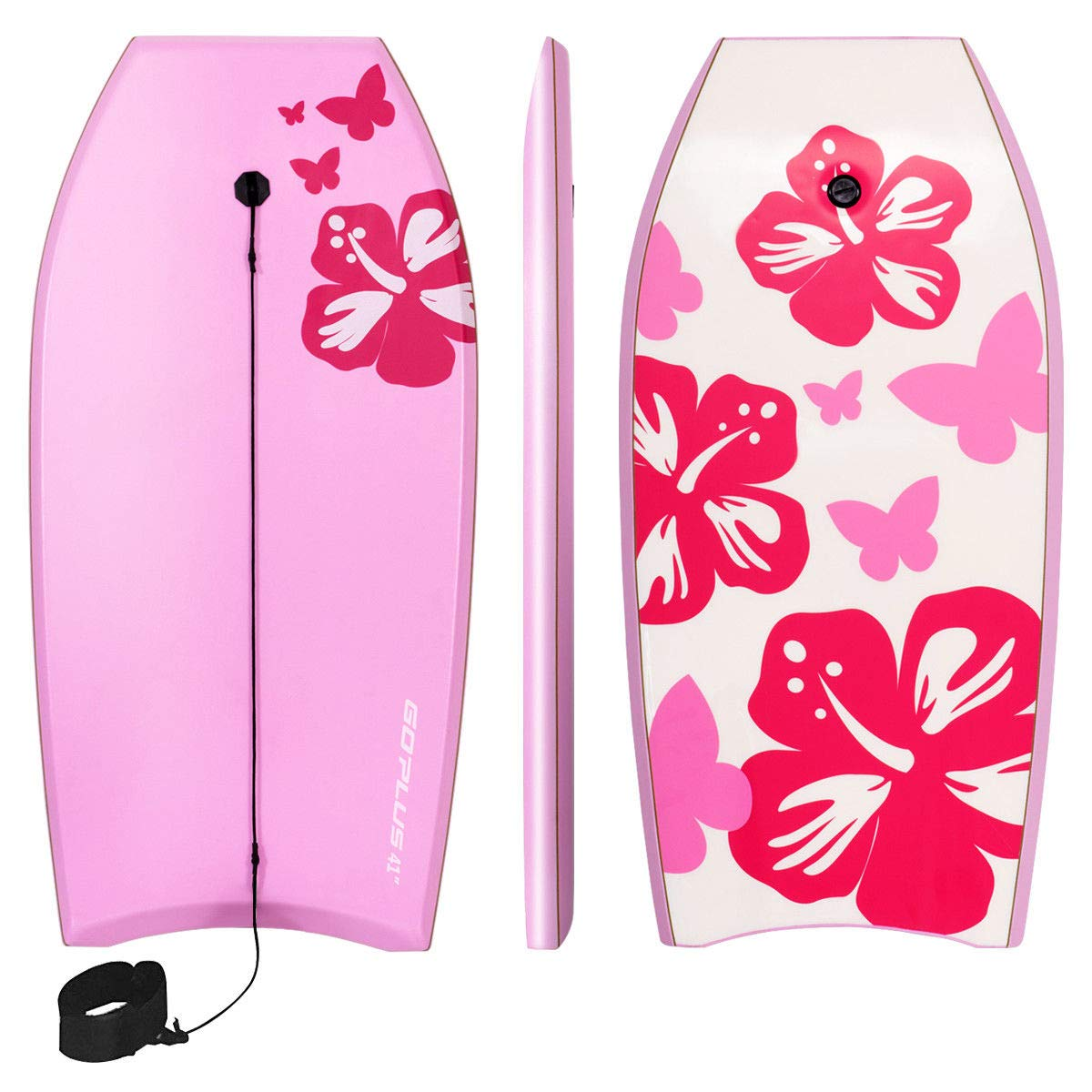 Goplus 41 inch Super Bodyboard Body Board EPS Core, IXPE Deck, HDPE Slick Bottom with Leash, Light Weight Perfect Surfing for Kids and Adults (Pink) by Goplus