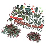 MagiDeal Plastic Army Men Playset 4cm Soldier Action Figures with Scaled Vehicles - 290 Pieces