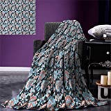 smallbeefly Floral Super Soft Lightweight Blanket Victorian Retro Renaissance Blooms Folk Batik Arabian Influences Oversized Travel Throw Cover Blanket 90''x70'' Charcoal Grey Coral Blue