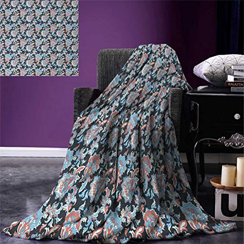 smallbeefly Floral Super Soft Lightweight Blanket Victorian Retro Renaissance Blooms Folk Batik Arabian Influences Oversized Travel Throw Cover Blanket 90''x70'' Charcoal Grey Coral Blue by smallbeefly