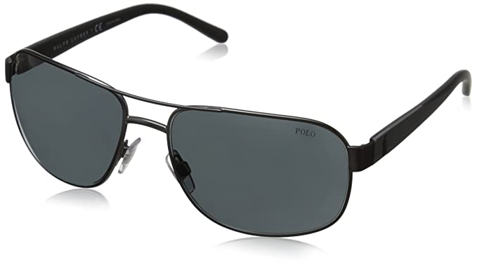 Polo Ralph Lauren 0PH3093 Gafas de sol, Rectangulares, 60, Matte Dark Gunmetal