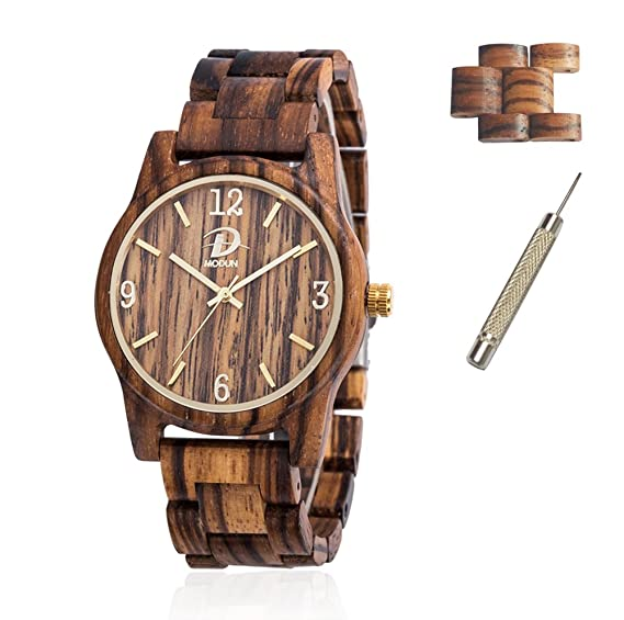 Relojes de madera para hombres y mujeres + 2 Relojes enlaces, sólido natural Zebra Wood