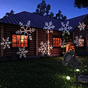 TANCH Dynamic Snowflakes Landscape projector lights Motion White Snowflakes Lamp Waterproof for Halloween Christmas Wedding Holiday for Patio Lawn Garden Outdoor Indoor Decorations
