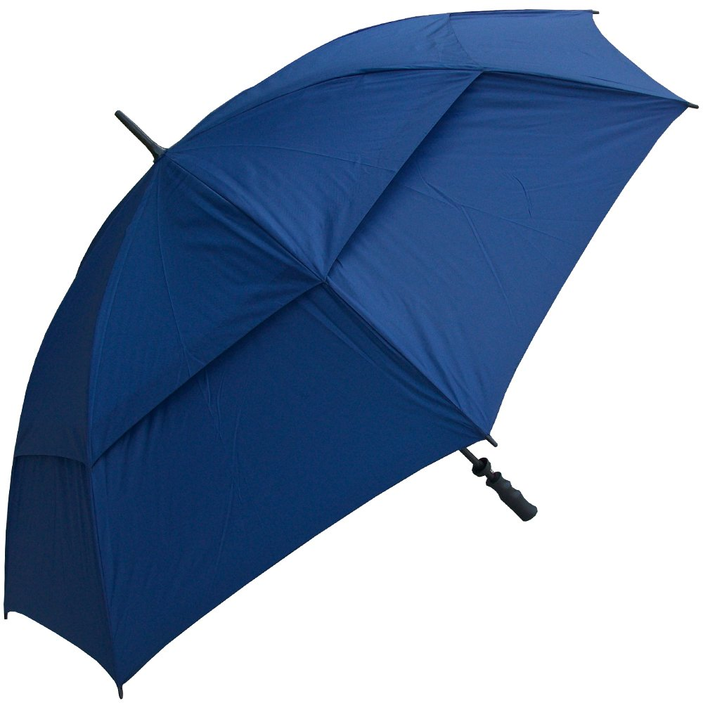 RainStoppers W029N 62-Inch Fiberglass Shaft and Ribs Golf Size Double Canopy Lined Umbrella with Mesh/Hard Rubber Handle, Navy   B00IYQ7TEM