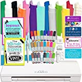 Silhouette Cameo 3 Bluetooth Bundle with 12x12 Inch Oracal 651 Vinyl, 24 Sketch Pens, Guide Books, Online Class, and More