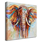 Crescent Art Original Design Large Contemporary Abstract Colourful Elephant Painting on Canvas Print Wall Art Picture for Living Room Bedroom Wall Decor (24 x 24 inch, Framed)