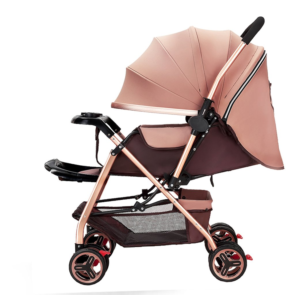 Brown HUANGDA Strollers Baby Baby Stroller Light High-Landscape Pram Portable Folding Umbrella Baby Carriage Baby Stroller on the Airplane (color   Light bluee)