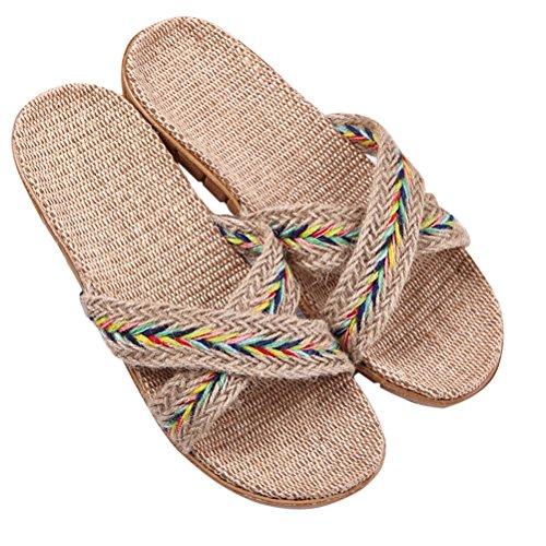 Skidproof Unisex 02 ENCOCO House Linen Sandals Summer Indoor Slippers Striped xFUHUXq