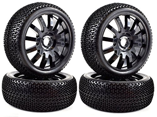 Apex RC Products 1/8 Off-Road Buggy Black 12 Spoke Wheels & Nub Tires - Set Of 4#6036