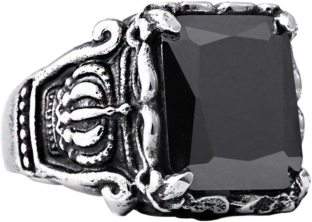 PAURO Hombre Acero Inoxidable Cuadrado Grande Cubic Zirconia Anillo Con Corona Patrón Lado, Negro/Verde/Rojo Piedra