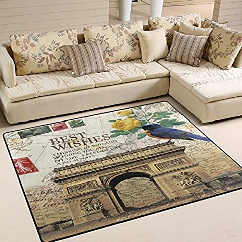 Country French Paris Flowers Arc de Triomphe Post Card Area Rug Pad Non-Slip Kitchen Floor Mat for Living Room Bedroom 5' x 7' Door Mat Home - French Country Living Room Furniture