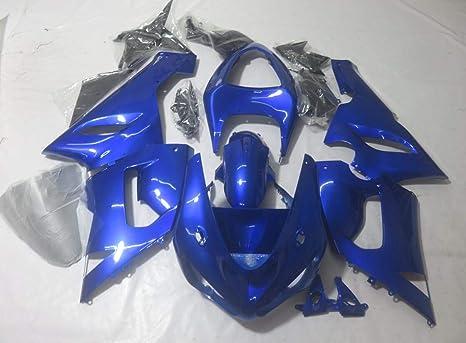 ZXMOTO K0605 ABS Plastic Motorcycle Bodywork Fairing Kit for Kawasaki Ninja 636 ZX-6R 2005-2006 Blue - (Pieces/kit: 21)