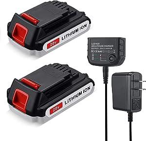 FirstPower 3.0Ah LBXR20 Battery 2Packs - Compatible with Black & Decker 20V Max Li-ion Cordless Tool + LCS1620 20V Charger for Black & Decker 20V Lithium Battery