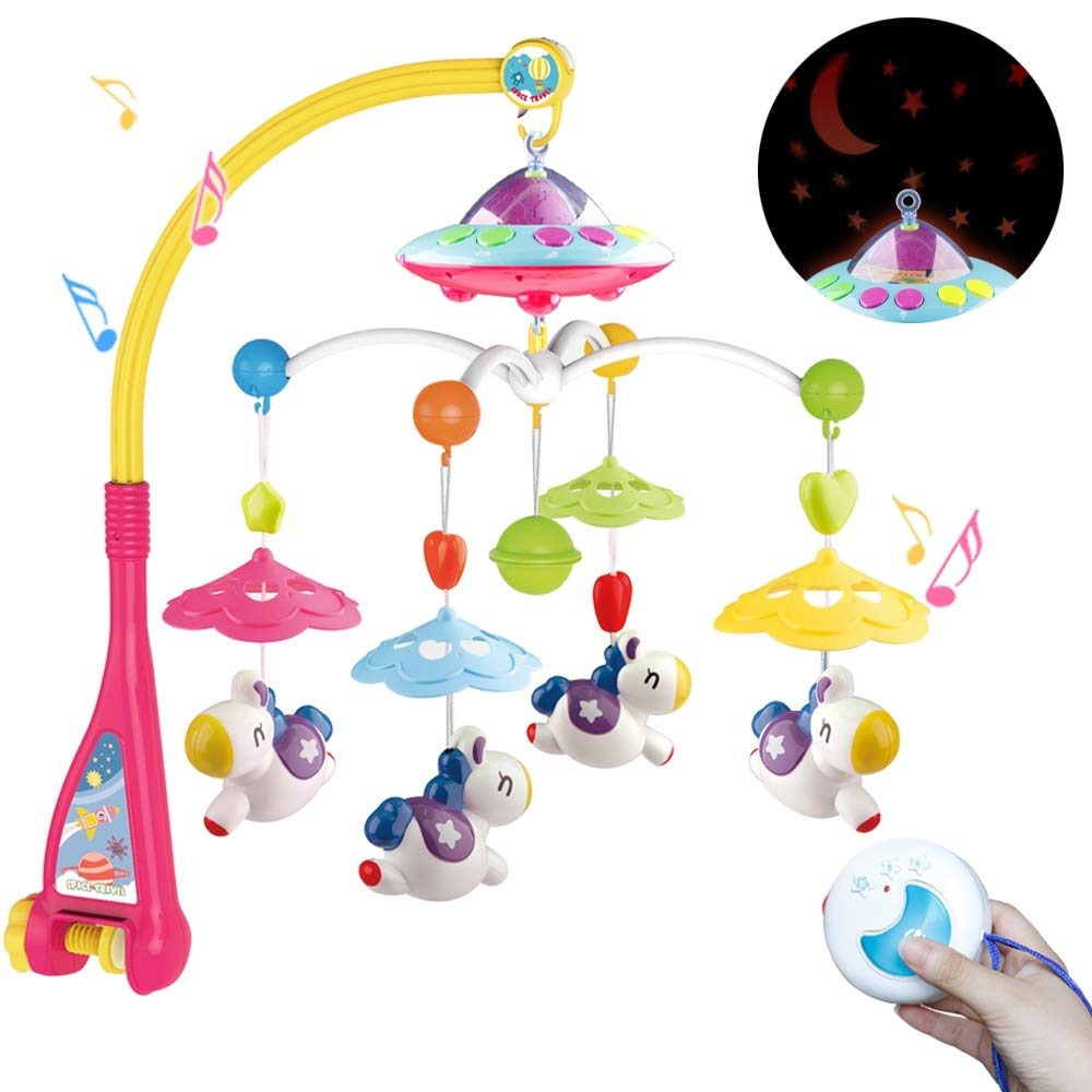 Mini Tudou Baby Bed Bell Toys Crib Mobile Musical - Remote Control Cartoon Animal Rattles Projection Music Box Kids Newborn Baby Infant