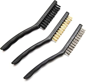 Hometeq 3 Pack - Stainless Steel, Brass, Nylon Wire Heavy Duty Scratch Brush Set Bristles Brush for BBQ Grill Brush, Cleaning, Kitchen, etc.