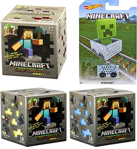 MineCart Pack Hot Wheels ride-on Cube Box car + Minecraft set of 3 Craftables Blind Box Series 1 Random Mystery mini Buildable 3
