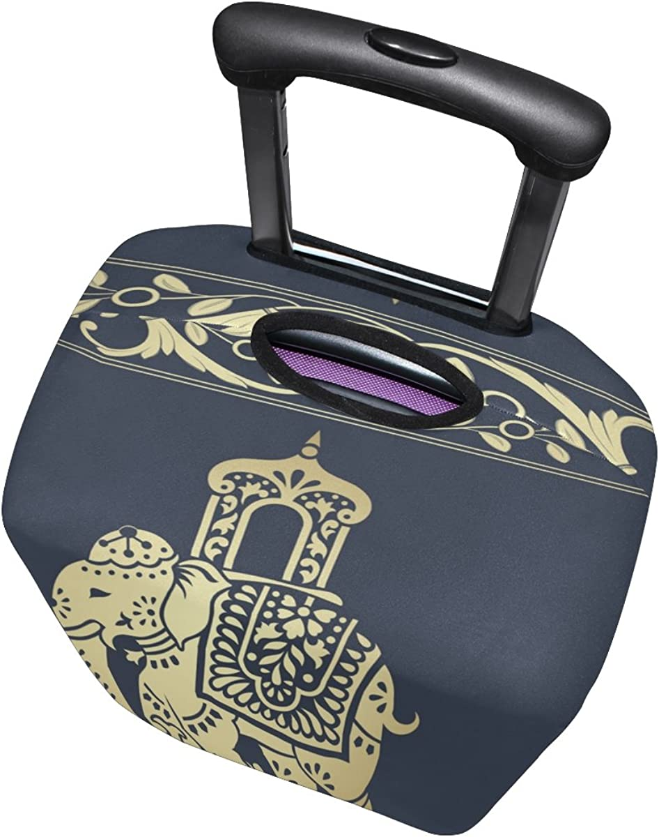 Hippie Indian Elephant Mandala Luggage Cover Travel Suitcase Protector Fits 18-21 Inch Luggage