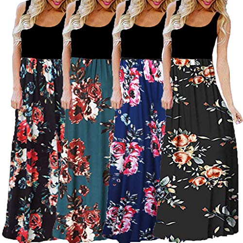 Womens Long Maxi Dress, Striped Straight Sleeveless Tank Party Floral Casual Summer Party Dress